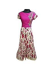 Pink And Beige Cotton Jacquard Designer Party Wear Kurti Semi Stitched