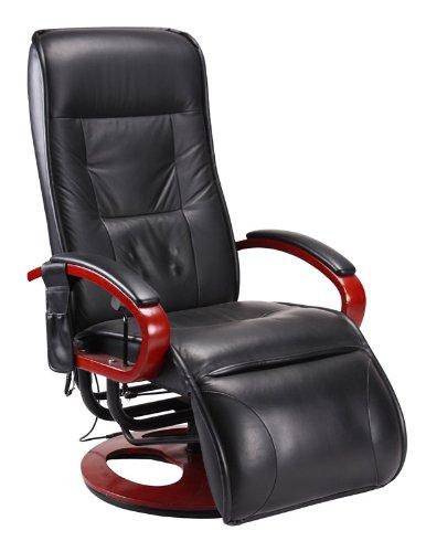 Relaxliege Relaxsessel ARLES II MIT Massage ~ Kunstleder, schwarz