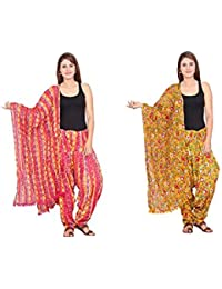 Rama Set Of 2 Abstract Design Yellow & Pink Colour Cotton Full Patiala With Dupatta Set