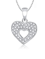 MEENAZ HEART SHAPE PENDANT VALENTINE LOCKET SILVER PLATED FOR GIRLS, WOMEN WITH CHAIN IN AMERICAN DIAMOND CZ PS297