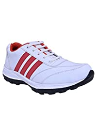 Smithsoul White & Red Sports Shoes