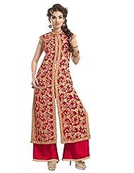 Trendz Apparels Red 60 Gm Georgette Straight Cut Salwar Suit
