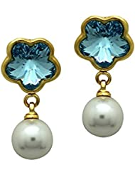 Mahi With Swarovski Elements Valentine Blue Floral Pearl Gold Plated Earrings For Women ER1104098GBlu