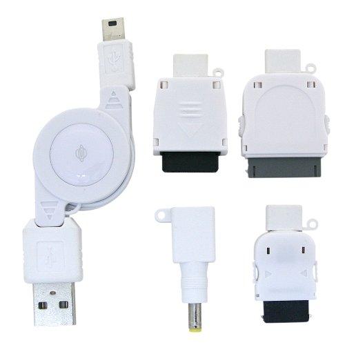 PLANEX+MiniUSB%2FDock%2FFOMA%2FSoftBank%2FCDMA(au)%2FPSP用巻取り式充電ケーブル+ホワイト+BN-MUS4CW