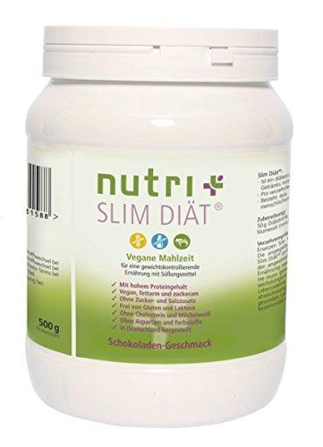 Abnehmen mit Nutri-Plus Slim Diät-Shake Schokolade 500g - Pflanzlicher Mahlzeitenersatz - Vegan - Glutenfrei - Laktosefrei - Aspartamfrei