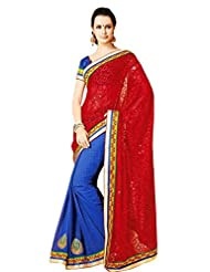 Faux Georgette Saree In Red Colour For Party Wear Wear