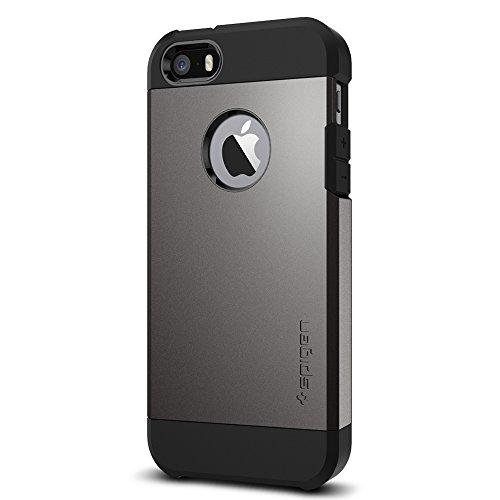 Coque iPhone SE, Spigen Coque iPhone 5S / 5 [Tough Armor] Protection US Military Grade [Gunmetal] Air Cushion La technologie d'absorption, Coque Apple...
