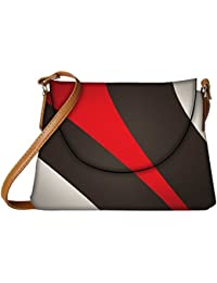 Snoogg Red And Brown Stripes Designer Womens Carry Around Sling Bags
