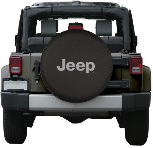 32″ Jeep Logo Tire Cover – (Black Denim Vinyl) – Silver Print – Made in the USA