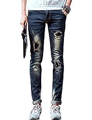 Men Natural Waist Zip Fly Destroyed Detail Leisure Jeans