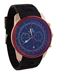 Addic EWWE Stylish Dark Blue Color Dial With Golden And Red Case With Black Straps Watch For Men