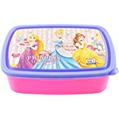 SKI Disney Princess Print Plastic Lunch Box, 1300 Ml, 3-Piece, Pink And Blue
