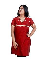 Viniyog Women Hand Woven Maheshwari Cotton-Silk Red Kurti