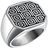 Alcoa Prime Stainless Steel Finger Ring Men's Great Wall Pattern Fashion CoolFinger Ring