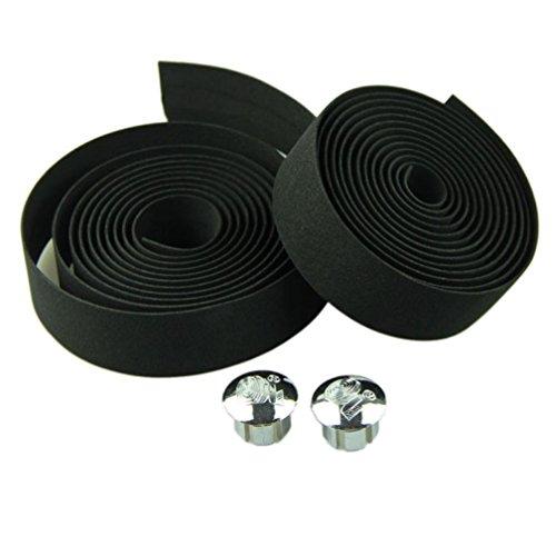 Iuhan® Fashion Cycling Handle Belt Bike Bicycle Cork Handlebar Tape Wrap +2 Bar Plug (Black)