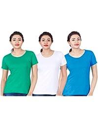 Fleximaa Women's Cotton Round Neck T-Shirt Plain (Pack Of 3) - White, Blue & Pakistan Green Colors.