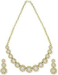 Zaveri Pearls Stylish Floral Pattern Austrain Diamond Necklace Set - ZPFK5362