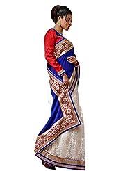 Sareez Off White & Blue Color Velvet & Net Saree.
