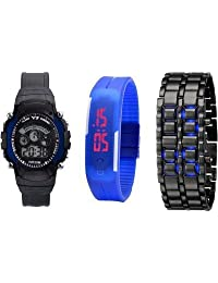 COSMIC COMBO - BLACK AND NAVY BLUE YS SPORTS DIGITAL WATCH FOR BOYS WITH BLACK METAL BLUE MAGNET LED UNISEX WATCH...