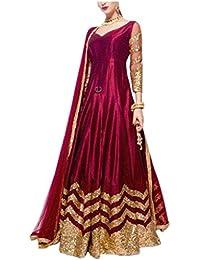 ClassyFashion Women's Ethnic Wear Taffeta Silk Semi-stitched Party/Regular Wear Dress Material/Salwar Suits/Salwar...