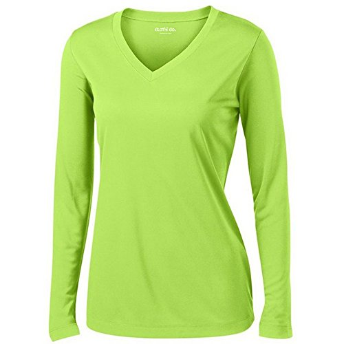 Clothe Co. Ladies Long Sleeve V Neck Moisture Wicking Athletic Shirt , Lime Shock, L