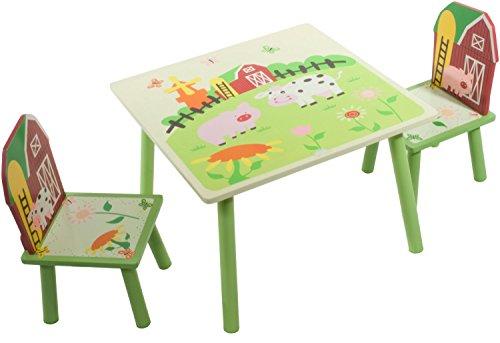 Bieco 4938935 - Tavolo con 2 sedie, per bambini, motivo: Fattoria