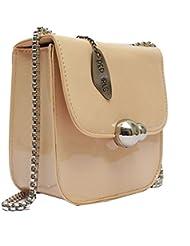 Pep Girls Beige Leatherette Sling Bag For Women