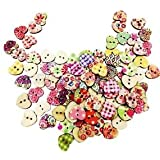 Alcoa Prime 100x Mixed Wooden Buttons Heart Sewing Scrapbooking 2 Holes Buttons Crafts