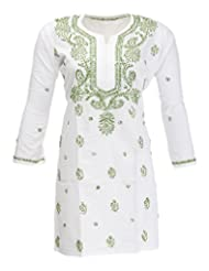Imperial Chikan Women's Cotton Straight Kurta (14149, White, 44)