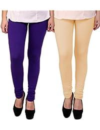 BrandTrendz Purple And Peach Cotton Pack Of 2 Leggings