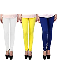 Snoogg Womens Ethnic Chic Inspired Churidar Leggings In White, Yellow And Blue