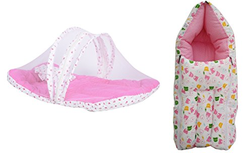 First Kids Step Baby Mattress With Mosquito Net & Sleeping Bag Combo 0-3 Months (3-6 Months, Pink)