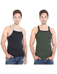 Bodysense Black & Green Men's Gym Vest ( Pack Of 2 )
