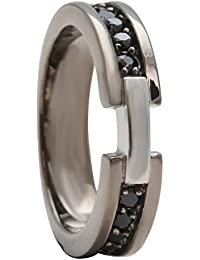 Sparkling Drop Exclusive Designer Antique Finish Finish Stainless Steel Cubic Zircoina Quarter Channel Band Ring...