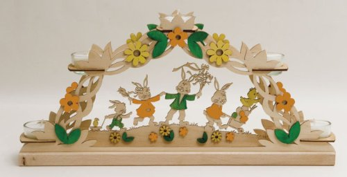 Bunny Rabbits with Chick and Flowers German Wood Easter Candle Arch Made Germany