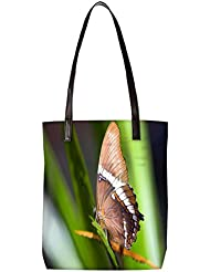 Snoogg Light Brown Butterfly Womens Digitally Printed Utility Tote Bag Handbag Made Of Poly Canvas With Leather...