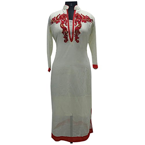 White Georgette Party Wear Kurti With Red Embroidery Work