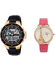 COSMIC COMBO SKMEI DUAL TIME SPORTS WATCH WITH COSMIC PINK STRAP LADIES WATCH