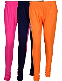 Cotton Leggings (Culture The Dignity Women's Cotton Leggings Combo Of 3_CTDCL_M1NvO_MAGENTA-NAVYBLUE-ORANGE_FREESIZE)
