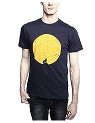TOMO Men's Cotton Navy Blue Color Round Neck MOON TREE Printed T-shirt