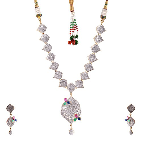 Bharat Sales Style Diva White Alloy Necklace Set For Women