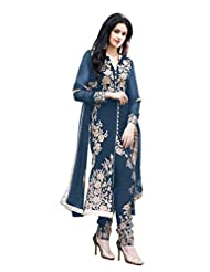 Paheli Heavy Embroidery Navy Blue Georgette Straight Party Wear Dress Material