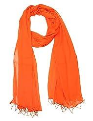 Famacart Women's Ethnicwear Chiffon Plain Orange Dupatta