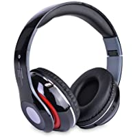 Bluetooth Wireless Folding Headphones With Built In FM Tuner Memory Card Slot And Microphone - White Black