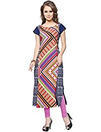 Ziyaa Multicoloured Boat Neck And Cap Sleeve With Front Two Slits Faux Crepe Digital Print Kurti