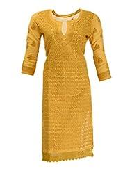 Imperial Chikan Women's Cotton Straight Kurta (13113, Yellow, 42)