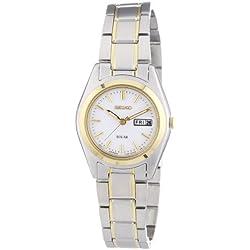 Seiko Solar SUT108P1 - Reloj analógico de cuarzo para mujer, correa de acero inoxidable chapado multicolor