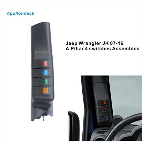 Apollointech Left Side A-Pillar 4-Switch Pod fit Jeep Wrangler JK 07 – 16 (left-hand-drive model)