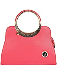 Clarzz - The Royal Elizabeth Hand Held Bag With Golden Chain Handle(s)-Pink
