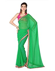 Designersareez Women Green Faux Georgette Saree With Unstitched Blouse (1800)